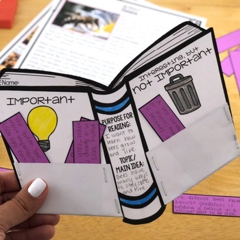 Reading Comprehension Crafts: Determining Importance Reader Response Activity