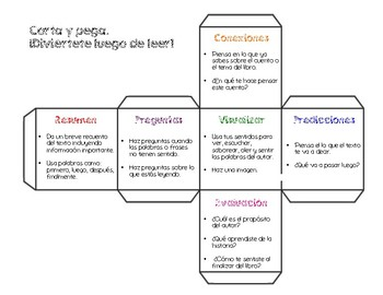 Reading Comprehension Cube in Spanish