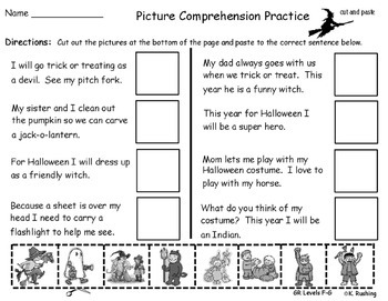Reading Comprehension Cut and Paste Set 1