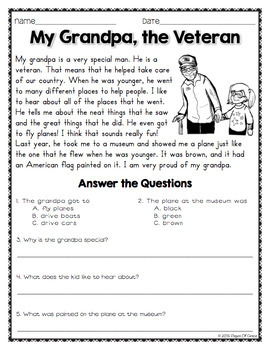 Reading Comprehension Passages and Questions for November