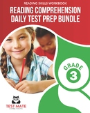 Reading Comprehension Daily Test Prep BUNDLE, Grade 3 (Common Core Worksheets)