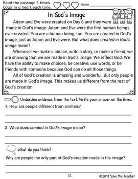 Reading Comprehension Days of Creation Grades 2-4