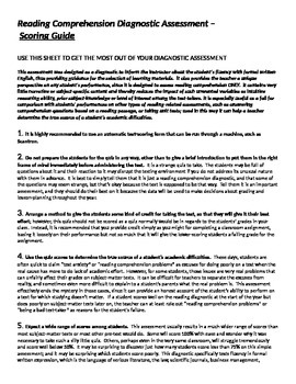 Assessment - Reading Comprehension Diagnostic Test Package