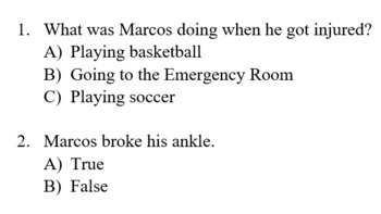 Reading Comprehension: Dialog about an injury