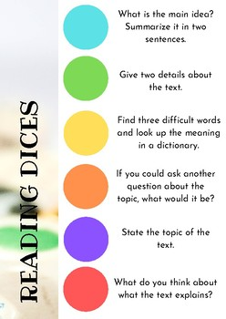 Reading Comprehension Dices Activity