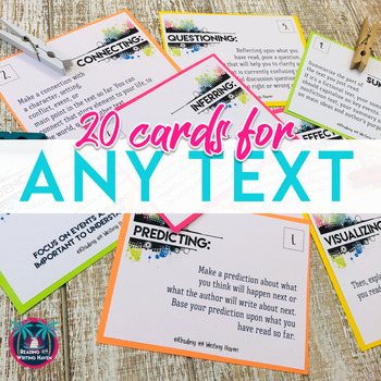 Reading Comprehension Discussion Task Cards Whole Class or Independent Reading