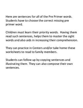Reading Comprehension Dolch Pre-Primer Sentences with Missing Words K, 1st & 2nd