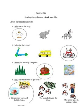 Reading Comprehension - Duck on a Bike