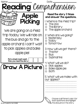 Reading Comprehension Passages ~ Fall Stories