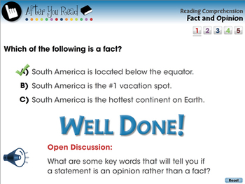 Reading Comprehension: Fact and Opinion - PC Gr. 3-8