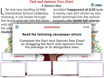 Reading Comprehension: Fact and Opinion Tree Chart - NOTEBOOK Gr. 3-8
