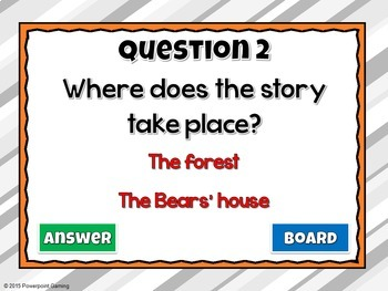 Reading Comprehension - Fairy Tales - Goldilocks and the 3 Bears Powerpoint Game