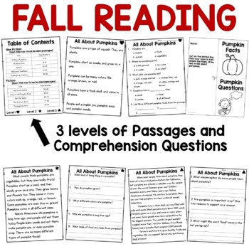 Reading Comprehension: Fall Differentiated Reading Passages