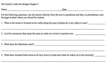 Reading Comprehension: Family Under the Bridge by Natalie