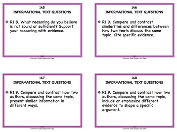 Reading Response Task Cards Fiction & Non-Fiction: Grade 6 - 8