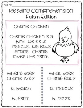 Reading Comprehension - Farm Edition