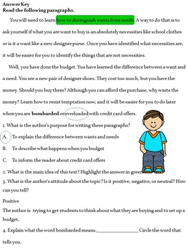 Non-fiction Reading Comprehension: Financial Tips for Teens