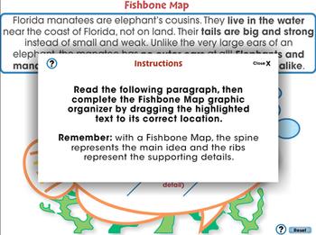 Reading Comprehension: Fishbone Graphic Organizer - NOTEBOOK Gr. 5-8