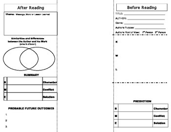 Reading Comprehension Foldable for Literary Texts