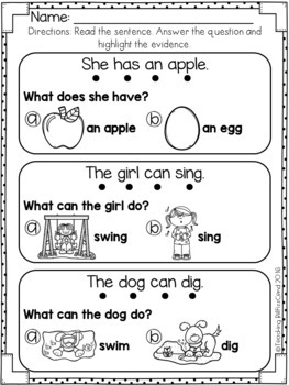 Reading Comprehension For Early Reader (SET 1)