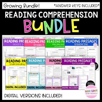 Reading Comprehension GROWING BUNDLE! 3rd to 4th Grade
