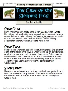 Reading Comprehension Game (Sequence): The Case of the Sleeping Frog