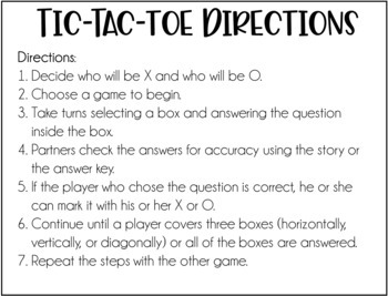 Reading Comprehension Games | Fiction Reading Tic-Tac-Toe