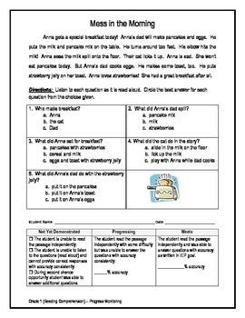 3 Reading Comprehension - Grade 1 (Progress Monitoring)