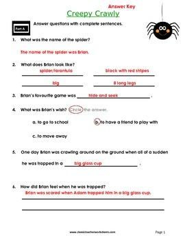 Reading Comprehension - Grade 2 (2nd Grade) - Fictional Story: Creepy Crawly