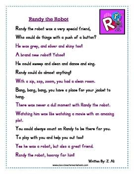 Reading Comprehension - Grade 2 (2nd Grade) - Rhyming Story: Randy the Robot