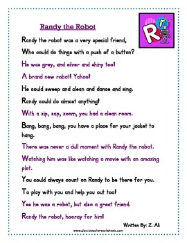 Reading Comprehension - Grade 2 (2nd Grade) - Rhyming Story: Randy the Robot