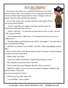 3rd grade comprehension story