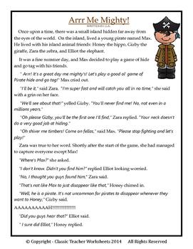 Comprehension - Grade 3 (3rd Grade) - Fictional Story: Arrr Me Mighty