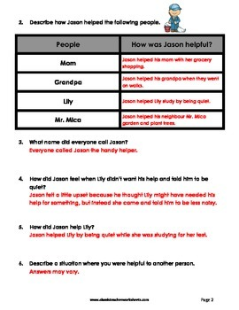 Reading Comprehension - Grade 3 (3rd Grade) - Fictional Story: Handy Helper