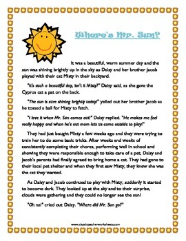 Reading Comprehension - Grade 3 (3rd Grade) - Fictional Story: Where's Mr. Sun