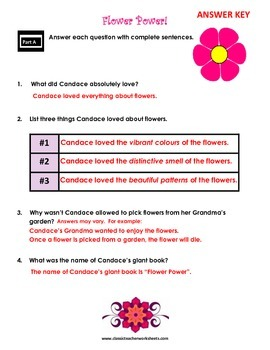 Reading Comprehension - Grade 4 (4th Grade) - Fictional Story: Flower Power