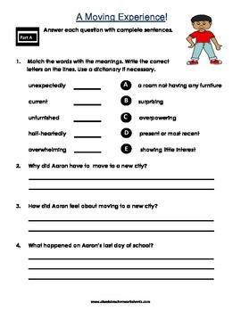 Reading Comprehension - Grade 4 (4th Grade) - Fictional Story: Moving Experience