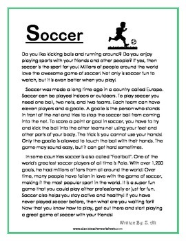 Reading Comprehension - Grade 4 (4th Grade) - Non-fiction Story: Soccer