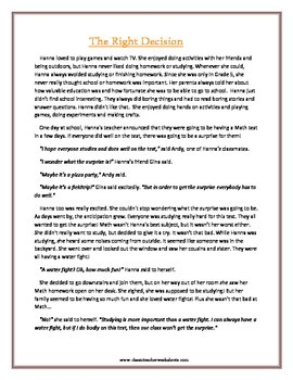Reading Comprehension - Grade 5 (5th Grade) - Fictional Story: Right Decision