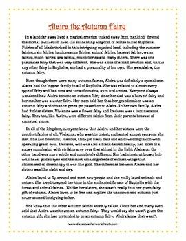 Reading Comprehension - Grade 6 (6th Grade) - Fictional Story: Autumn Fairy