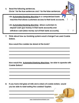 Reading Comprehension Grade 6 6th Grade Fictional Story Cookie Dollars
