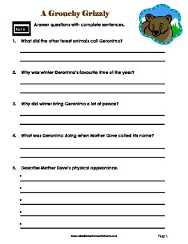 Reading Comprehension - Grade 6 (6th Grade) - Fictional Story: Grouchy Grizzly