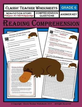 Reading Comprehension - Grade 6 (6th Grade) - Non-fiction Story: Platypus