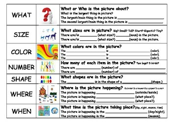 Visualizing and Verbalizing Structure Word Graphic Organizer Fill in the Blank
