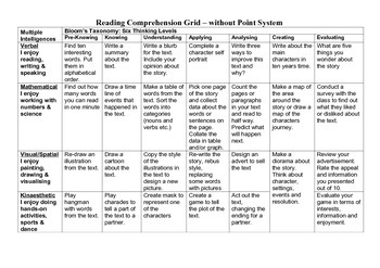 Reading Comprehension Grid for any book