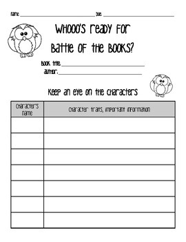 Reading Comprehension Guide ***Owl Themed***