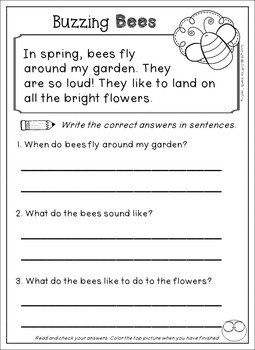 Kindergarten and First Grade Reading Comprehension Passages and Questions