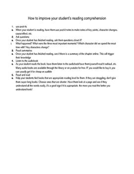 Reading Comprehension Handout