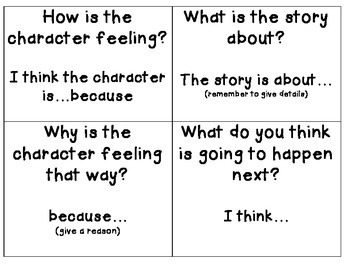 Reading Comprehension Inference Question Cards & Prompts