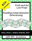 Reading Comprehension Inferencing Task Cards with WH Quest